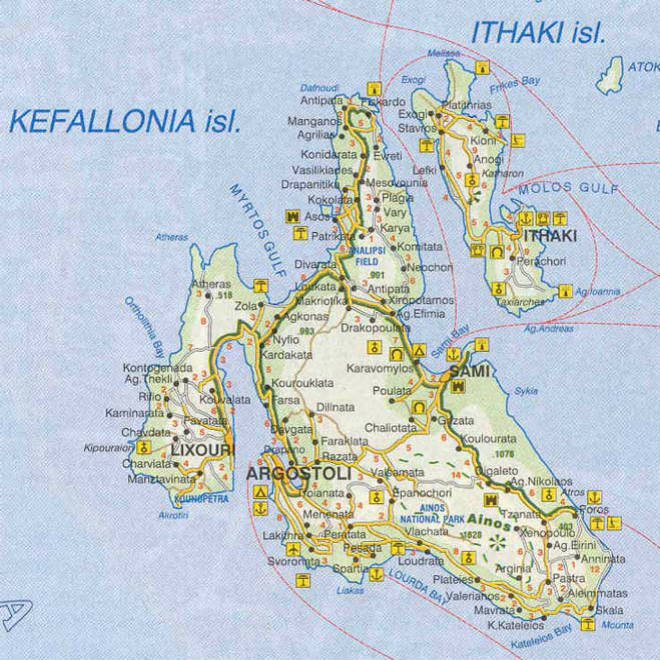 Kefalonija-Mapa