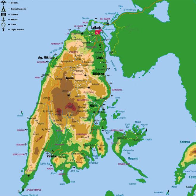 Lefkada-Mapa