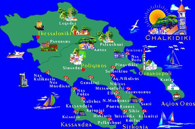 Mapa Halkidikija