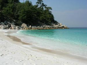 Beli šljunak, tirkizno more i zelenilo oko plaže...RAJ!