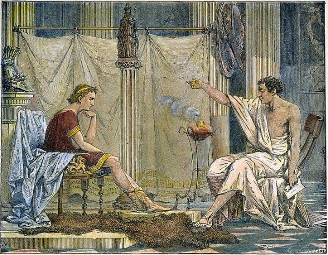 Aristotel sa svojim učenikom Aleksandrom Velikim